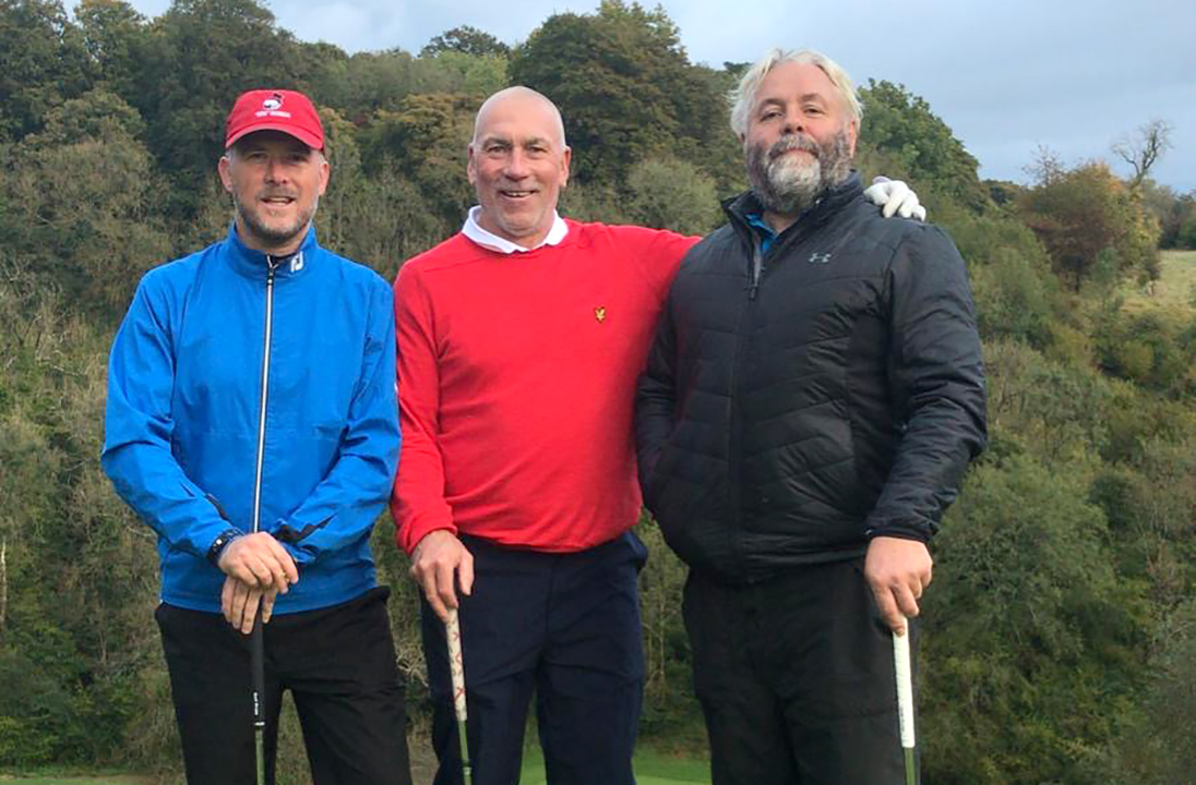Captain D'Arcy, Pete Keen and Clive Snashall waiting to Play the 17th at Manor House, Castle Combe